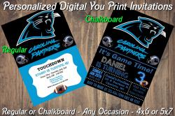 Carolina Panthers Personalized Digital Party Invitation #2 Regular or Chalkboard