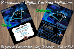 Carolina Panthers Personalized Digital Party Invitation #3 Regular or Chalkboard