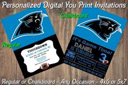 Carolina Panthers Personalized Digital Party Invitation #4 Regular or Chalkboard