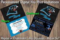 Carolina Panthers Personalized Digital Party Invitation #5 Regular or Chalkboard