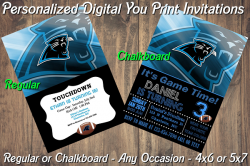 Carolina Panthers Personalized Digital Party Invitation #7 Regular or Chalkboard