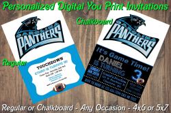 Carolina Panthers Personalized Digital Party Invitation #8 Regular or Chalkboard
