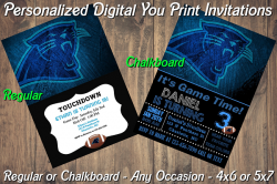 Carolina Panthers Personalized Digital Party Invitation #9 Regular or Chalkboard