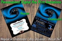 Carolina Panthers Personalized Digital Party Invitation 10 Regular or Chalkboard