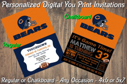 Chicago Bears Personalized Digital Party Invitation #1 (Regular or Chalkboard)