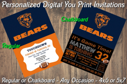 Chicago Bears Personalized Digital Party Invitation #2 (Regular or Chalkboard)