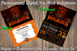 Chicago Bears Personalized Party Digital Invitation #4 (Regular or Chalkboard)