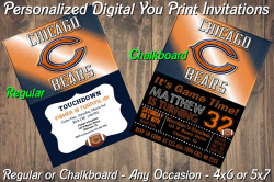 Chicago Bears Personalized Digital Party Invitation #6 (Regular or Chalkboard)
