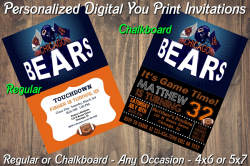 Chicago Bears Personalized Digital Party Invitation #8 (Regular or Chalkboard)