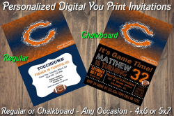 Chicago Bears Personalized Digital Party Invitation #9 (Regular or Chalkboard)
