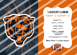 Chicago Bears Personalized Digital Party Invitation #67 (any occasion)