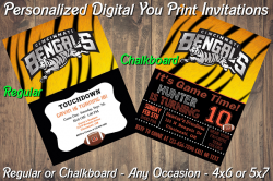 Cincinnati Bengals Digital Party Invitation #1 (Regular or Chalkboard)