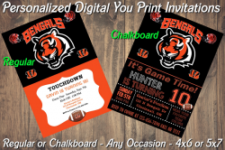 Cincinnati Bengals Digital Party Invitation #3 (Regular or Chalkboard)
