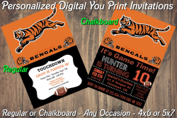 Cincinnati Bengals Digital Party Invitation #4 (Regular or Chalkboard)