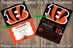 Cincinnati Bengals Digital Party Invitation #6 (Regular or Chalkboard)
