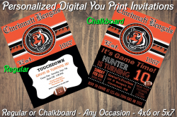 Cincinnati Bengals Digital Party Invitation #9 (Regular or Chalkboard)