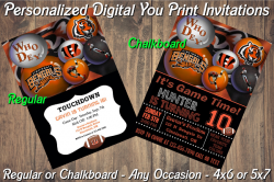 Cincinnati Bengals Digital Party Invitation #10 (Regular or Chalkboard)