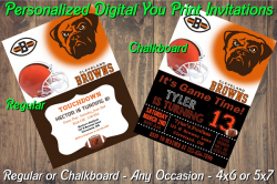 Cleveland Browns Personalized Digital Party Invitation #1 Regular or Chalkboard