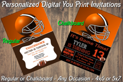 Cleveland Browns Personalized Digital Party Invitation #2 Regular or Chalkboard