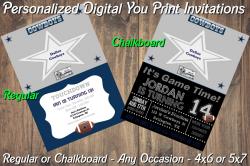 Dallas Cowboys Personalized Digital Party Invitation #1 (Regular or Chalkboard)