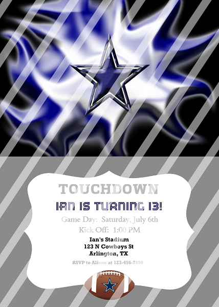 Dallas Cowboys Personalized Digital Party Invitation 16 Any Occasion