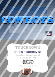Dallas Cowboys Personalized Digital Party Invitation #20 (any occasion)