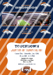 Denver Broncos Personalized Digital Party Invitation #11 (any occasion)