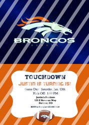 Denver Broncos Personalized Digital Party Invitation #19 (any occasion)