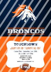 Denver Broncos Personalized Digital Party Invitation #23 (any occasion)