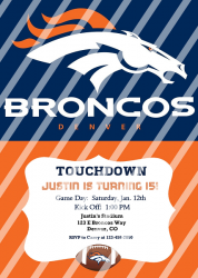Denver Broncos Digital Personalized Party Invitation #26 (any occasion)