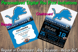 Detroit Lions Personalized Digital Party Invitation #1 (Regular or Chalkboard)