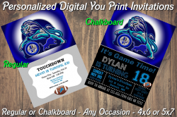 Detroit Lions Personalized Digital Party Invitation #2 (Regular or Chalkboard)