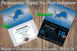 Detroit Lions Personalized Digital Party Invitation #10 (Regular or Chalkboard)