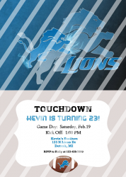Detroit Lions Personalized Digital Party Invitation #11 (any occasion)