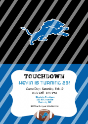 Detroit Lions Personalized Digital Party Invitation #13 (any occasion)