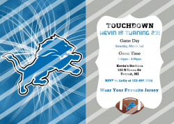 Detroit Lions Personalized Digital Party Invitation #15 (any occasion)