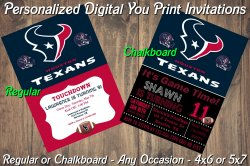 Houston Texans Personalized Digital Party Invitation #1 (Regular or Chalkboard)