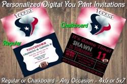 Houston Texans Personalized Digital Party Invitation #2 (Regular or Chalkboard)