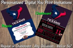 Houston Texans Personalized Digital Party Invitation #10 (Regular or Chalkboard)