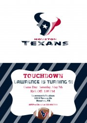 Houston Texans Personalized Digital Party Invitation #16 (any occasion)