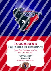 Houston Texans Personalized Digital Party Invitation #18 (any occasion)