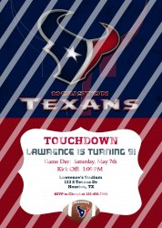 Houston Texans Personalized Digital Party Invitation #28 (any occasion)