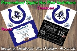 Indianapolis Colts Digital Party Invitation #1 (Regular or Chalkboard)