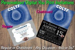 Indianapolis Colts Digital Party Invitation #2 (Regular or Chalkboard)