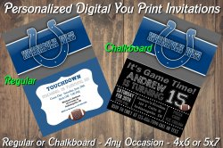 Indianapolis Colts Digital Party Invitation #4 (Regular or Chalkboard)