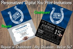 Indianapolis Colts Digital Party Invitation #5 (Regular or Chalkboard)
