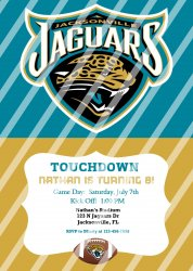 Jacksonville Jaguars Personalized Digital Party Invitation #12 (any occasion)