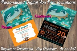 Miami Dolphins Personalized Digital Party Invitation #1 (Regular or Chalkboard)