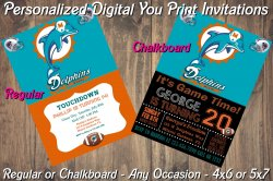 Miami Dolphins Personalized Digital Party Invitation #2 (Regular or Chalkboard)