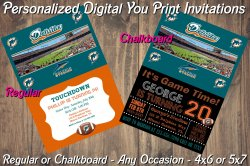 Miami Dolphins Personalized Digital Party Invitation #10 (Regular or Chalkboard)